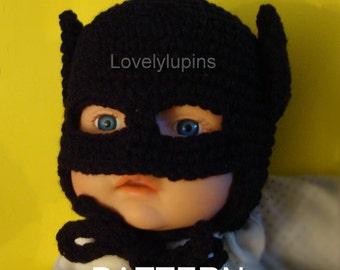 batman, crochet, hat pattern, batman baby, crochet beanie, batman baby Hat, size 0 to 3 months, motif de bebe batman, crochet baby gift