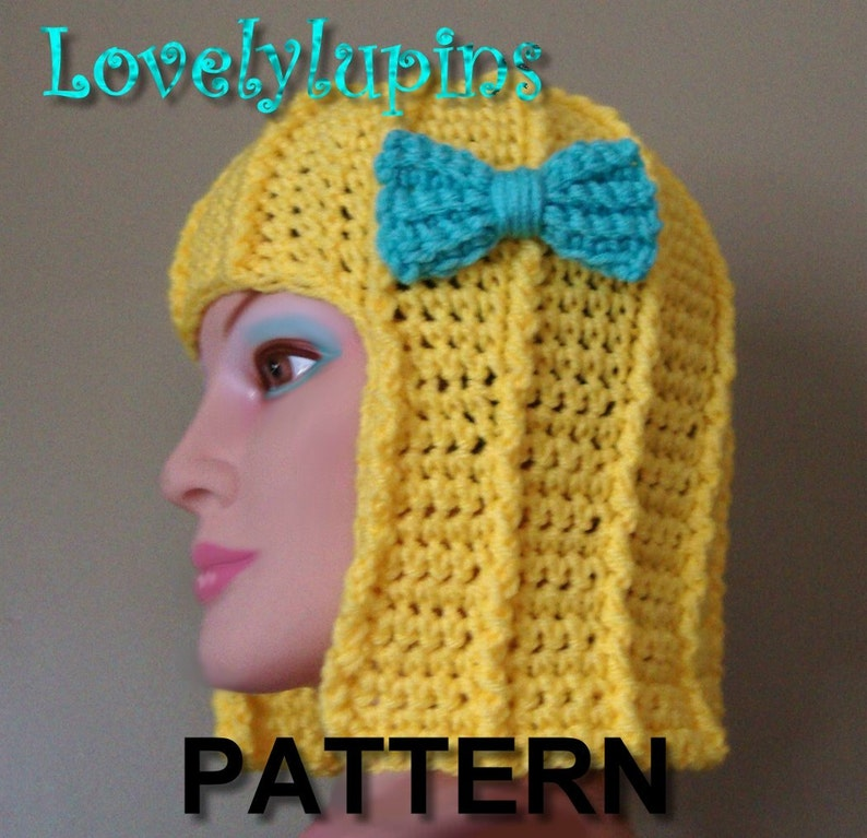 e75aef590a1 Crochet hair hat pattern wig wig Hat women blondes