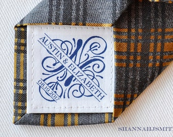 Cotton 2nd Anniversary Gift • Valentine's Gift  • Personalized Tie Patch • Suit Label • Monogram • Customized Fabric Patch • Husband Gift