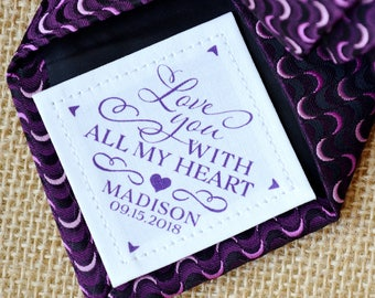 Personalized Tie Patch for Him • Gift for Groom • Love You With All My Heart • Cotton Anniversary • Suit Label • Wedding Gift • Husband