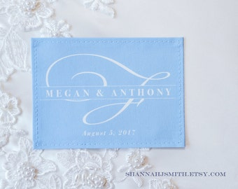 something blue wedding dress label monogram personalized patch bridal shower gift unique gift for bride sew in fabric label