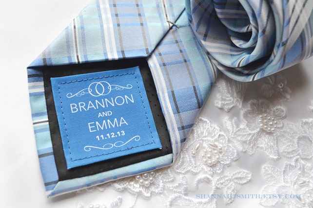 Personalized Groom Tie Patch • Contemporary • Something Blue • Suite Label • 2nd Anniversary Gift •Cotton Anniversary Gift