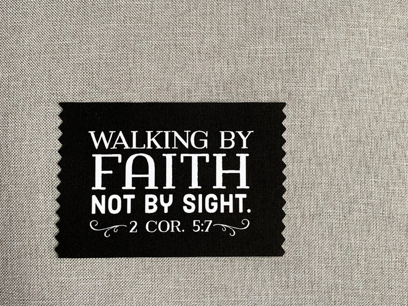 Iron On Patch backpack patch walking by faith inspirational quote share hope face mask label apron patch