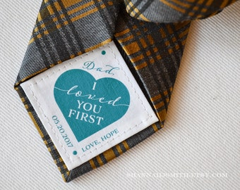 Father of the Bride Tie Patch, Personalized Dad Gift, Wedding Gift for Dad, I Loved You First, Suit Label