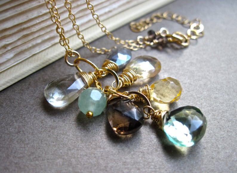 dc4646ceba5c Collar cascada de piedras preciosas 14K oro llena verde