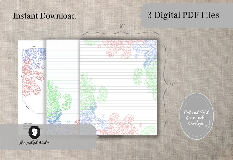 printable paisley lined letter writing setdigital stationery note paper and envelope with linesdownloadable journal sheet with borders