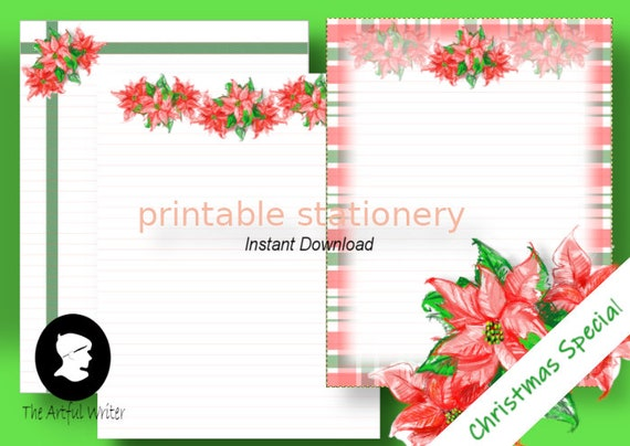 Printable Letter Writing PaperDigital Holiday Poinsettia StationeryChristmas Lined Letter SetXMAS Notepaper Download paper