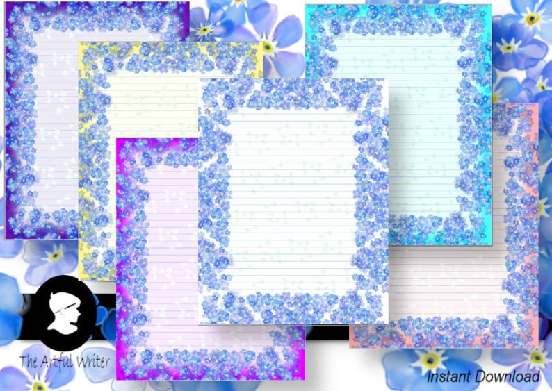 photo about Printable Lined Paper With Border Pdf named Printable letter producing paper/floral border electronic stationary/magazine flower take note webpages/coated stationery/ignore me knots obtain PDF