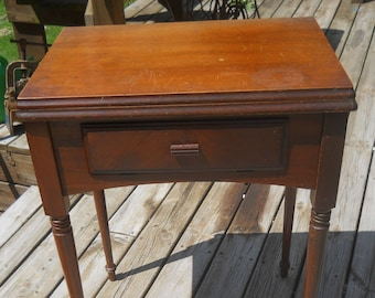 Vintage Singer Sewing Machine Walnut Table/Cabinet--With Dust Bottom-Lift Assist-Knee Bar-A Singer 66 came out of this table