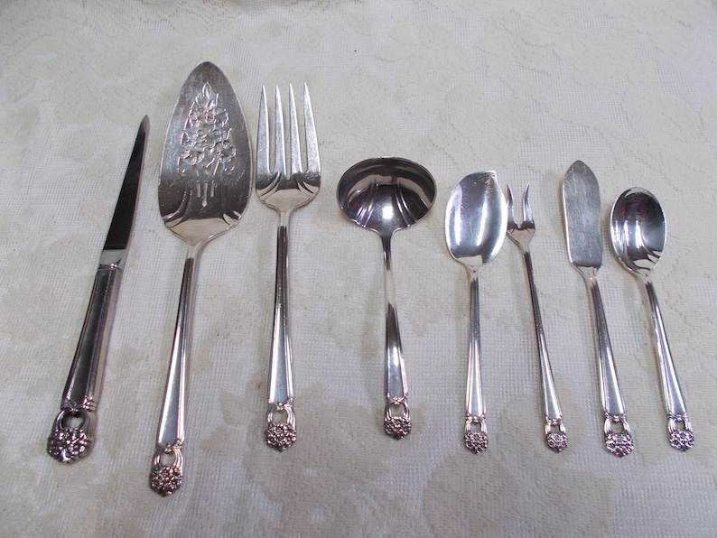 1847 Roger Bros IS Silverplate Flatware-80 Pieces Eternally Yours-Service for 12 Plus-Pierced Floral Pattern-Slotted Storage Board-Polished