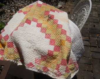REDUCED-Vintage Irish Chain Quilt- Charmingly Dilapidated-Tattered and Torn-Outdoor Display Quilt-Cutter Quilt-88x86