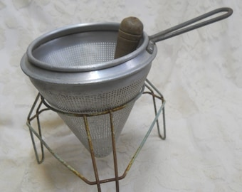 Vintage Cone Shaped #12 Wear Ever Colander with Wood Pestle, Rustic/Rusty Metal Stand--Use for Farmhouse Decor