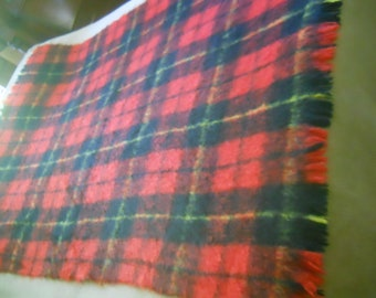 Vintage Liberty of London 75% Mohair/25 percent All New Wool Made in Scotland-Tartan Red Plaid Throw/Blanket 72x47-Cozy