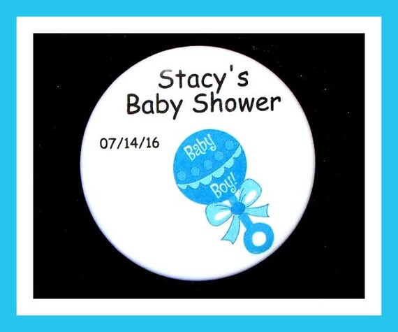 Baby Shower Rattle Favors,Personalized Buttons Pins ,Favor Tags,Its a Boy,Party Favors,Birthday Party Favors,Personalized Favors,Set of 10