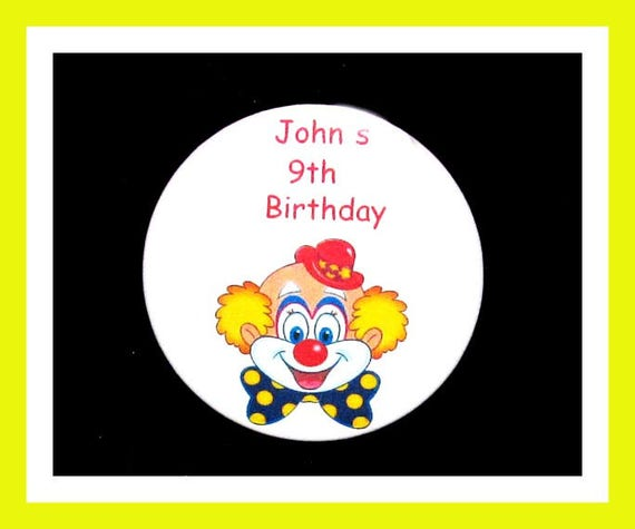 Birthday Party Favor Personalized Button, Clown Pin Favor,School Favor,Kid Party Favor,Boy Birthday,Girl BirthdayPin,Favor Tag Set of 10