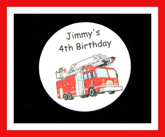 Birthday Party Favors, Personalized Button,Fire Truck Pin Favor,School Favors,Kids Party Favor,Boy Birthday,Girl Birthday,Pins, Set of 10