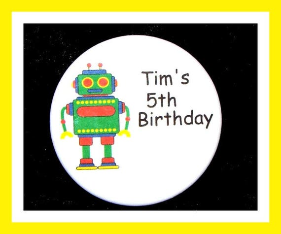 Birthday Party Favors, Personalized ButtonRobot Pin Favor,School Favors,Kids Party Favor,Boy Birthday,Girl Birthday,Pins,Favor Tag Set of 10