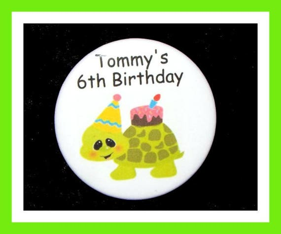 Birthday Party Favors, Personalized Button,Turtle Pin Favor,School Favor,Kids Party Favor,Boy Birthday,Girl Birthday,Pin,Favor Tag Set of 10