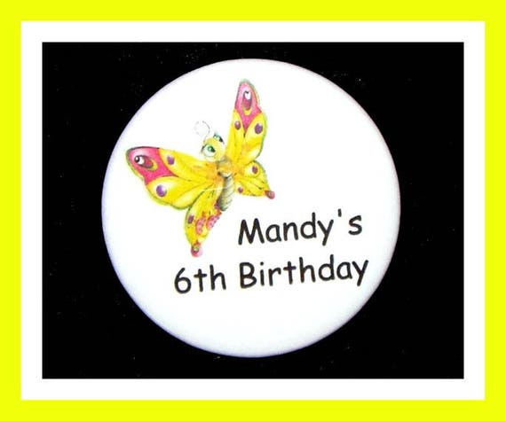 Birthday Party Favor, Personalized Button,Butterfly Pin Favor,School Favor,Kid Party Favor,Boy Birthday,Girl Birthday,Pin,FavorTag Set of 10