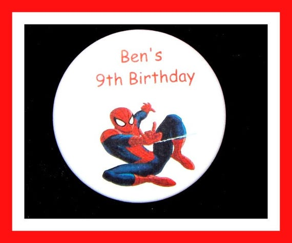 Birthday Party Favor Personalized Button, Spiderman Pin Favor,School Favor,Kid Party Favor,Boy Birthday,Girl BirthdayPin,Favor Tag Set of 10