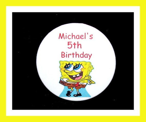 Birthday Party Favor Personalized Button, Sponge manPin Favor,School Favor,Kid Party Favor,Boy Birthday,Girl BirthdayPin,Favor Tag Set of 10