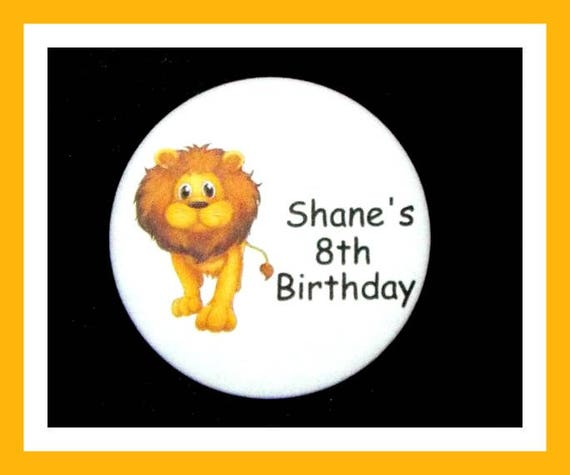 Birthday Party Favors, Personalized Button,Lion Favor,School Favors,Kids Party Favor,Boy Birthday,Girl Birthday,Pins,Favor Tag Set of 10
