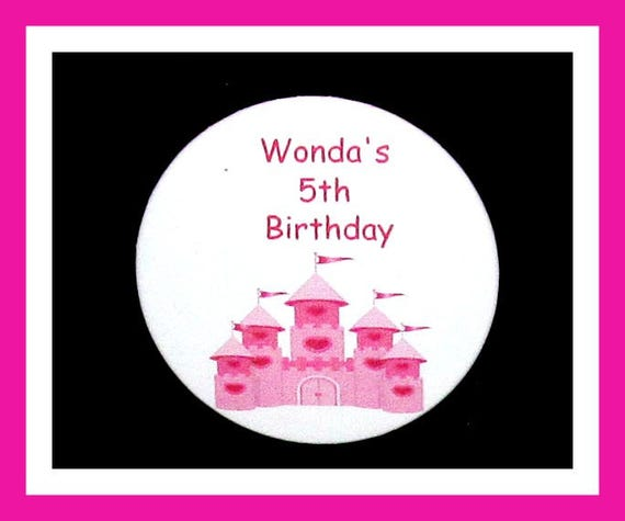 Birthday Party Favor Personalized Button, Castle Pin Favor,School Favor,Kid Party Favor,Boy Birthday,Girl BirthdayPin,Favor Tag Set of 10