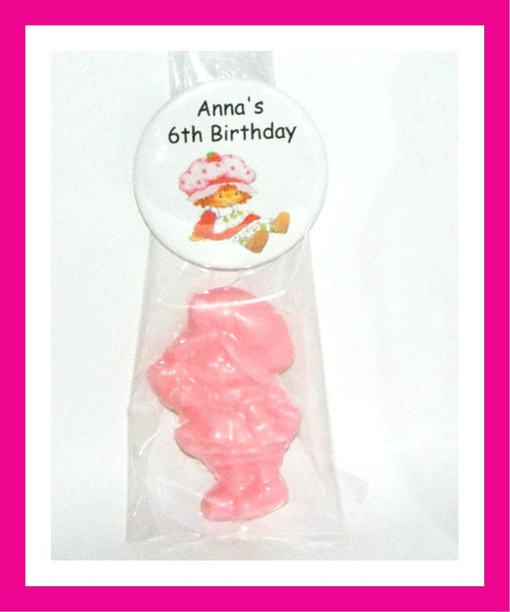 24 Little Girl Soap Favors, Birthday Party Favors,Baby Shower Favors,Personalized Button Pin,Strawberry Girl