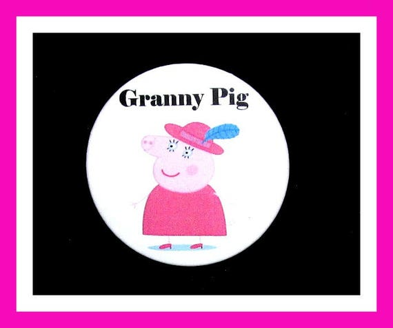 "Birthday Party Favor Button Pin,Granny Pig,Boy Birthday Party,Girl Birthday Party,Pig Favors,Animal Theme Favors,Cartoon Pin,2.25"" Pin"