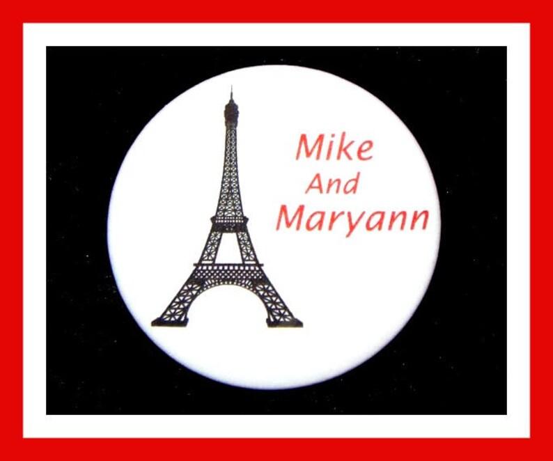 Eiffel Tower Favors,Wedding Favors,Bridal Shower Favors,Bachelorette Favors,Engagement Favors,Button Pin 2.25  Set of 10