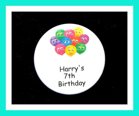 Birthday Party Favors, Personalized Button,Balloons Pin Favor,School Favors,Kids Party Favor,Boy Birthday,Girl Birthday,Pins, Set of 10