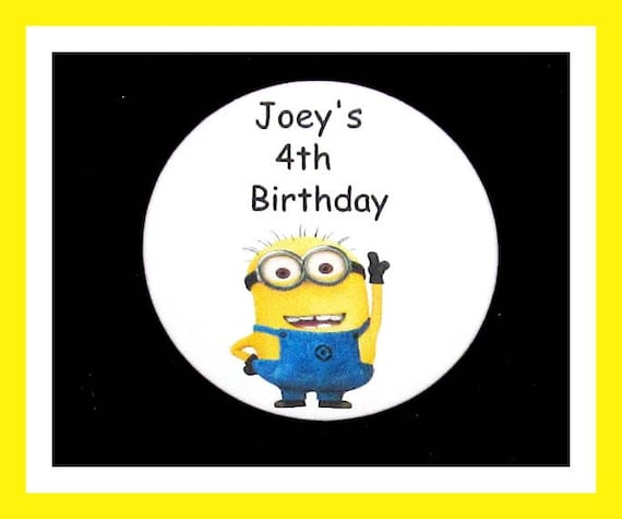 Birthday Party Favor Personalized Button,Minion Pin Favor,School Favor,Kid Party Favor,Boy Birthday,Girl BirthdayPin,Favor Tag Set of 10