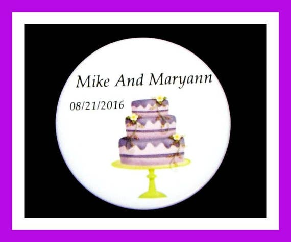 "Wedding Cake Party Favors,Anniversary Favors,Bride to Be Favors,Wedding Shower Favors,Groom to Be Favors, Button Pin  2.25""  Set of 10"