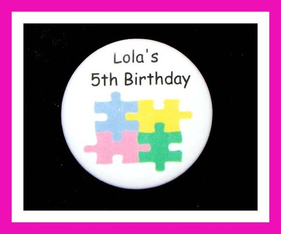 Birthday Party Favors, Personalized Button,Puzzle Pin Favor,School Favors,Kids Party Favors,Boy Birthday,Girl Birthday,Pins, Set of 10