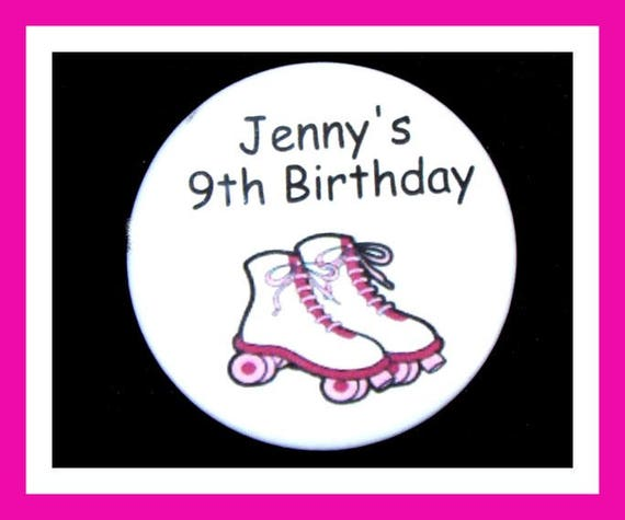 Birthday Party Favors, Personalized Button,Roller Skate Pin Favor,School Favors,Kids Party Favors,Boy Birthday,Girl Birthday,Pins, Set of 10