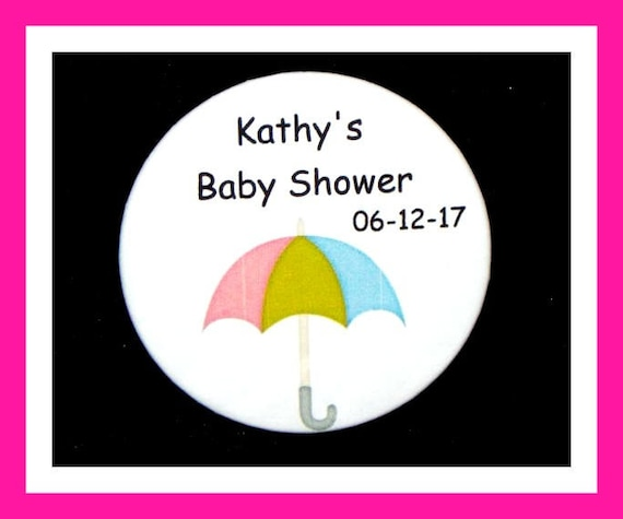 Baby Shower Umbrella Pin,Personalized Button,Favor Tag,Its a girl,Its a Boy,Party Favors,Birthday Party Favors,Personalized Favors,Set of 10