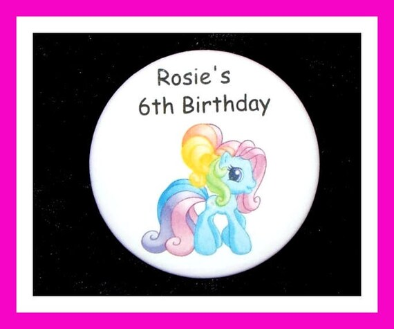 Birthday Party Favors, Personalized Button,Pony Pin Favor,School Favors,Kids Party Favor,Boy Birthday,Girl Birthday,Pins,Favor Tag Set of 10