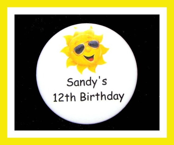 Birthday Party Favors, Personalized Button,Sun Pin Favor,School Favors,Kids Party Favor,Boy Birthday,Girl Birthday,Pins,Favor Tag Set of 10
