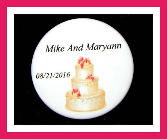 "Wedding Cake Favors,Bridal Shower Favors,Wedding Favors,Bachelorette Favors,Engagement Favors,Anniversary Favors,Button Pin 2.25"" Set of 10"