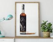 Bottle of Eagle Rare Kentucky Bourbon Whiskey Giclée Watercolor Print