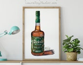 Bottle of Dickel Rye Whisky Giclée Watercolor Print
