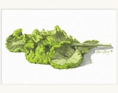 Mustard Greens Watercolor Print • Gourmet Food Art Prints • Stylish Kitchen Decor • Modern Kitchen Wall Decor • Vegetable Watercolor