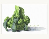 Broccoli Watercolor Print • Gourmet Food Prints • Stylish Kitchen Decor • Modern Kitchen Wall Decor • Vegetable Watercolor • Gift for Chefs