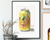 Squirt Watercolor Giclée Print | Can of Squirt Grapefruit Soda Artwork