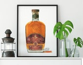 Bottle of WhistlePig Rye Whiskey Giclée Watercolor Print