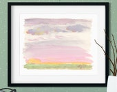 Prairie Sunrise Abstract Watercolor Giclée Print