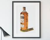 Bottle of Bushmills Irish Whiskey Giclée Watercolor Print