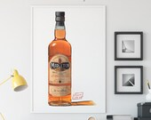 Bottle of Midleton Very Rare Irish Whiskey Giclée Watercolor Print