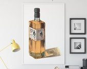 Bottle of Suntory Toki Whisky Giclée Watercolor Print