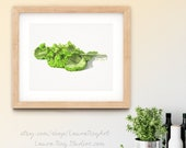Fresh Mustard Greens Watercolor Giclée Print